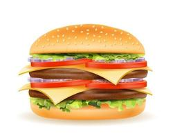 klassischer Hamburger mit Fleisch hacken Tomatenzwiebel und Käse in einer Brötchenvorrat-Vektorillustration lokalisiert auf weißem Hintergrund vektor