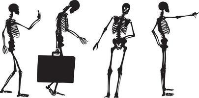 für Skelettwandern und Stil stehen Skelettvektor vektor