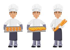 hübscher Bäcker in Berufsuniform vektor