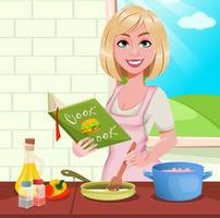 Frau, die zu Hause kocht vektor