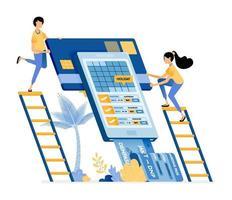 Menschen, die Flugtickets für den Urlaub in der mobilen App des Reisebüros kaufen vektor