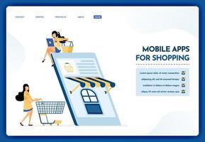 Landingpage-Illustration von mobilen Apps zum Einkaufen vektor