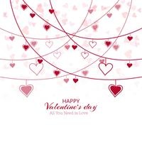 Vackert hjärtvalentins dagkortdesign vektor