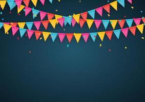 Banner mit Girlande von Flaggen und Bändern Urlaubsparty Hintergrund für Geburtstagsfeier Karneval vektor