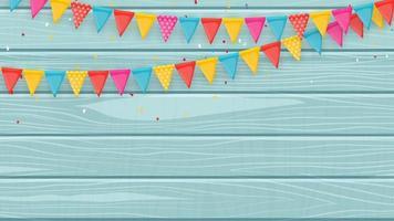 Banner mit Girlande aus Fahnen und Bändern vektor