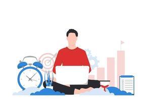 Disziplin, Zielsetzung und Zeitmanagementkonzept. Mann mit einem Laptop, der Konzeptvektorillustration arbeitet oder studiert vektor