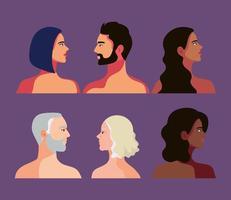 sechs interracial Personen vektor