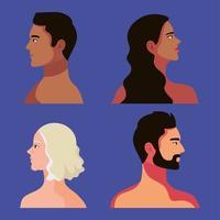 vier interracial Personen vektor