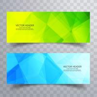 Abstrakt polygon färgstarka banderoller set design vektor