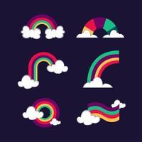 Satz bunte Regenbogenikonen vektor