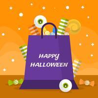 platt halloween godis i väska vektor illustration