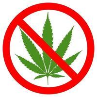 kein Marihuana symbolisches Zeichen roter Kreis grünes Blatt weißer Hintergrundvektorillustration vektor