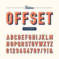 Retro Offset-Alphabet-Vektor-Set vektor