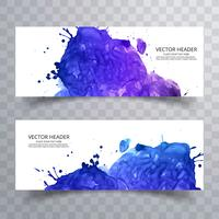Vackra akvarell banners set design vektor