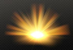 abstrakte goldene helle Lichtgold-Glanz-Burst isoliert auf transparentem Hintergrund helle und glänzende goldene Lichtsternvektorillustration vektor