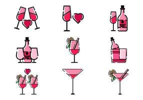 Wein Bierikone Set Design Illustration Vektor Pixel perfekt