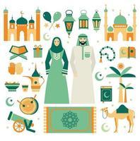 muslimischer Satz von Ikonen eingestellt. flaches Design. Ramadan Kareem. vektor