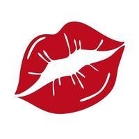 rote weibliche Lippen lokalisiert auf einem weißen Hintergrund. Vektorillustration. Design für Valentinstag, Grußkarten, T-Shirts, Aufkleber vektor