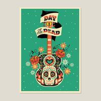 Buntes Skelett mit Gitarren-Hintergrund für Tag der Toten vektor