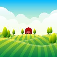 Landsbygdens panorama landskap med en vacker utsikt över distant Fields Illustration vektor