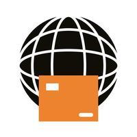 Karton mit Kugel Browser Lieferservice Silhouette Stil vektor