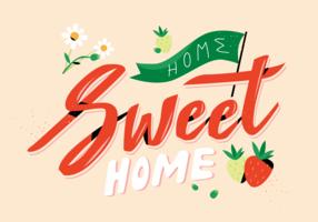 Nette Erdbeere mit lettering Home Sweet Home-Vektor-flacher Illustration vektor