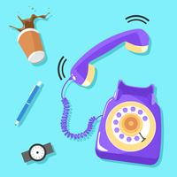 Klingeln Lila Rotary Telefon Vektor