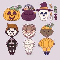 Vektor söta och färgrika Halloween element