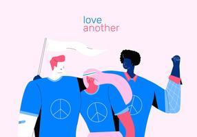 Aktivist, der für Friedens- und Liebes-Vektor-flache Illustration steht vektor