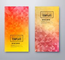 Vacker triangelsfärgade banderoller med designmall vektor