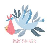 Söt stork med nyfödd