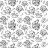 nahtloses Muster mit Schwarzweiss-Gerbera und endlosem Blumenhintergrund für saisonale Frühlings- und Sommerdesigns vektor