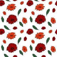 nahtloses Muster mit bunten Gerbera und endlosem Blumenhintergrund für saisonale Frühlings- und Sommerdesigns vektor