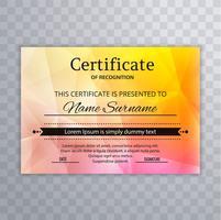 Schönes Zertifikat der Anerkennungsschablone buntes backgrou vektor