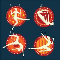 Satz des Ausführens des akrobatischen Trapezkünstlers vektor