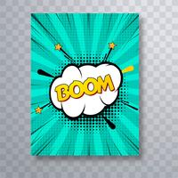 Bunte Pop-Art-Broschüren-Designschablone des Boomtext-Comic-Buches vektor