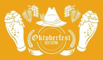 oktoberfest feierfest mit tiroler hut und biergläsern vektor