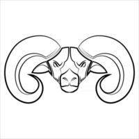 Schwarzweiss-Linienkunst des großen Hornschafkopfes gute Verwendung für Symbolmaskottchenikone-Avatar-Tätowierungs-T-Shirt-Design-Logo oder irgendein Design vektor