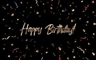 Alles Gute zum Geburtstag Glückwunsch Banner Design mit Konfetti und glänzendem Glitzer Band für Party Urlaub Hintergrund vektor