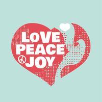 Grunge Style Frieden, Liebe und Freude Zeichen vektor