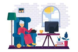 Großmutter, die im Wohnzimmervektor fernsieht vektor