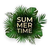 natürliche realistische Palmblätter. Sommerverkaufskonzept mit tropischem Hintergrund. vektor