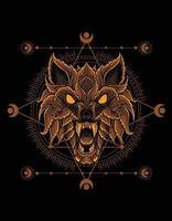 Wolfskopf-Verzierungsstil mit heiliger Geometrie vektor