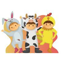Flache Kinder in der Tierkostüm-Vektorillustration vektor