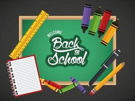 Zurück zum Schulplakat mit Notizbuch und Zubehör in Tafel vektor