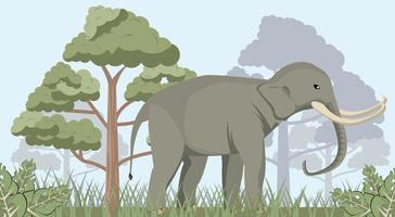 großer starker wilder Elefant in der wilden Naturszene des Dschungels vektor