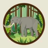 großer Elefant in der wilden Naturszene des Dschungels vektor