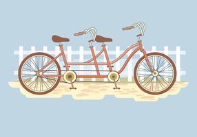Sommar Retro Tandem Cykel vektor