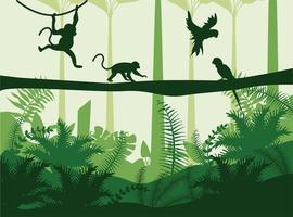 grüne Farblandschaft der wilden Natur des Dschungels mit Affen- und Papageien-Szene vektor