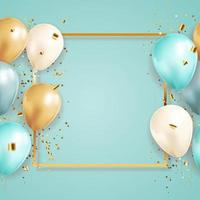 Grattis på födelsedagen Grattis banner design med konfetti och ballonger för fest semester bakgrund vektor